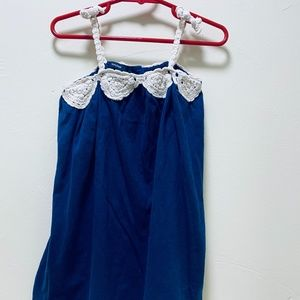 Baby Gap Navy Crochet Trim Dress Sz 2t